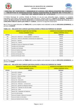 EDITAL Nº 219/2015 - HORÁRIO E LOCAL DE REALIZAÇÃO DA