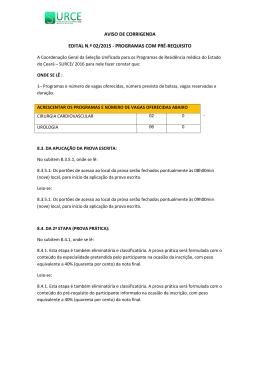 1ª Corrigenda Edital nº02/2015 - Pré-requisito