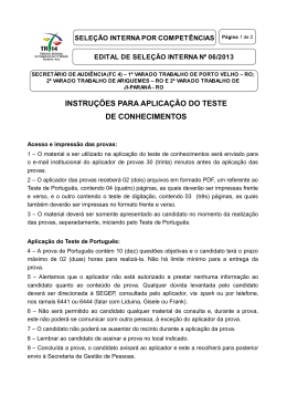 Orientações aos aplicadores da Prova- Edital 6-2013