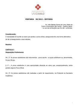 PORTARIA 09 - Prova Substitutiva