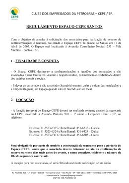 REGULAMENTO ESPAÇO CEPE SANTOS - CEPE-SP