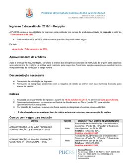 Ingresso Extravestibular 2016/1 - Reopção