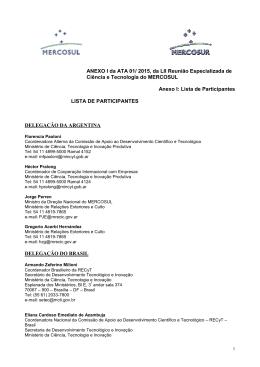 mercosul/reunião especializada de ciência e tecnologia – recyt/ ata no