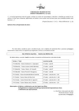 COMUNICADO: REUNIÃO DE PAIS ENSINO FUNDAMENTAL I (1º