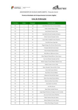 Lista de Ordenação - Agrupamento de Escolas Campo Aberto