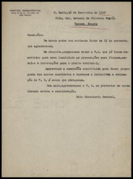 S, Paulo,16 de fevereiro de 1927 Illm, Snr. Antônio de Oliveira Fo