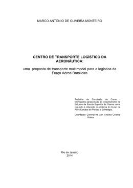 CENTRO DE TRANSPORTE LOGÍSTICO DA AERONÁUTICA: uma