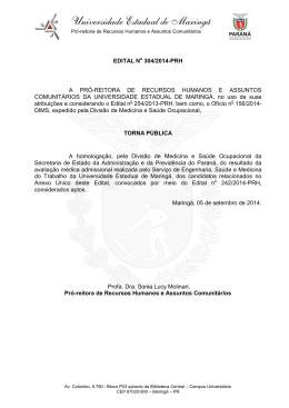 Edital 304/2014-PRH - DRH - Diretoria de Recursos Humanos