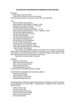 relação dos 24 inconfidentes condenados e seus destinos