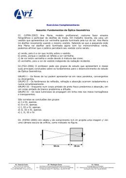 Fundamentos da Óptica Geométrica 01. (UFRN