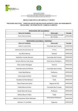 RESULTADO FINAL DO EDITAL Nº 50/2015 Conceição - IF Sertão-PE