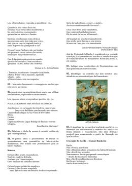 Leia o texto abaixo e responda as questões 01 e 02. Quando da