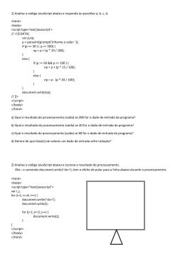 1) Analise o código JavaScript abaixo e responda às questões a, b