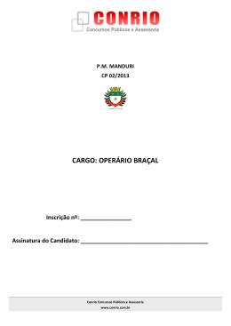 C019 - Caderno Questões Operário Braçal