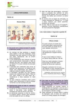 Caderno de Questões - Exames de Seleção IFAL