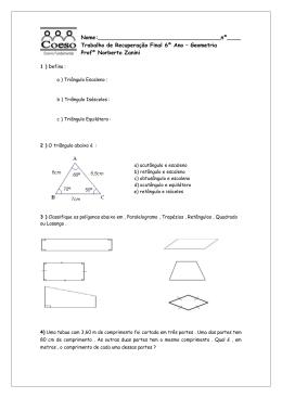Trabalho Recuperação Geometria 6ºAno