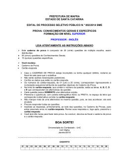 CONHECIMENTOS ESPECÍFICOS - Universidade do Contestado