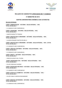 relação de candidatos aprovados em 1ª chamada 2º