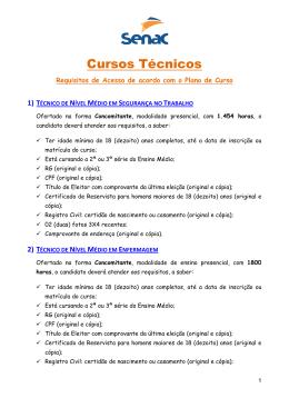 Cursos Técnicos - Requisitos de Acesso