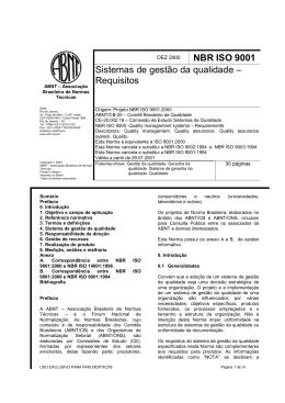 NBR ISO 9001 Sistemas de gestão da qualidade – Requisitos