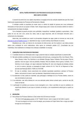 EDITAL PADRÃO REFERENTE AOS PROCESSOS DE