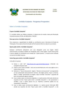 Certidão Conjunta - Secretaria de Estado da Tributação