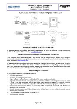 Processo de Qualificação e Certificação