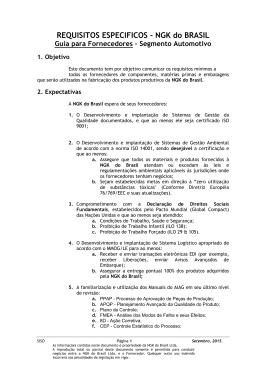 Requisitos Específicos - NGK do Brasil de janeiro de 2012
