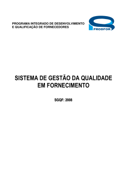 sistema de gestão da qualidade em fornecimento
