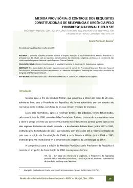 medida provisória: o controle dos requisitos constitucionais de