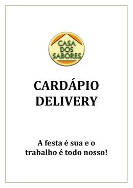 CARDÁPIO DELIVERY - Casa dos Sabores