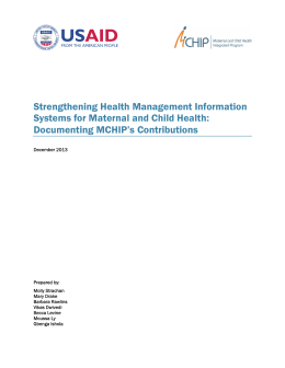 Strengthening Health Management Information Systems for