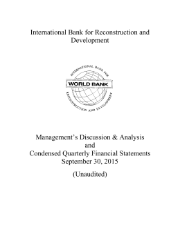 IBRD Financial Statements for September 30, 2015