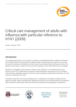 Critical care management of adults with H1N1 influenza