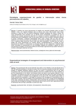 Estratégias organizacionais de gestão e intervenção sobre