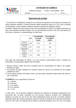 Exercícios de revisão - Colégio Santo Agostinho