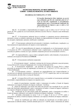 DN19-98 Procedimentos administrativos para licenciamento.