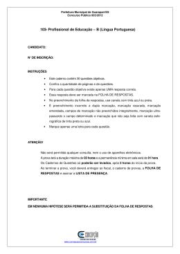 103- Profissional de Educação – B (Língua Portuguesa)