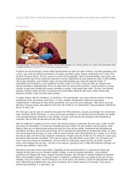 O que a ONG Viver e Sorrir faz para que crianças prematuras