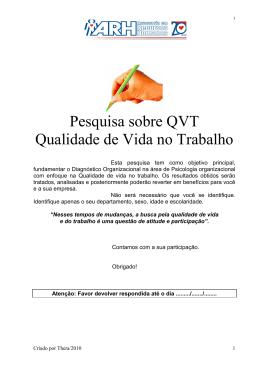 Pesquisa QVT - FIB - Faculdades Integradas de Bauru