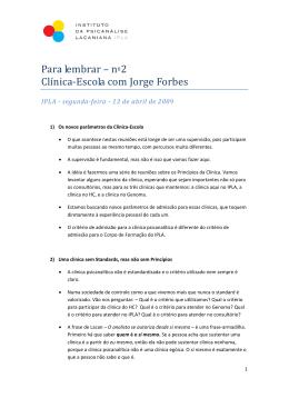 Para lembrar – nº2 Clínica‐Escola com Jorge Forbes