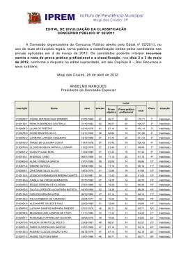 EDITAL DE DIVULGAÇÃO DA CLASSIFICAÇÃO