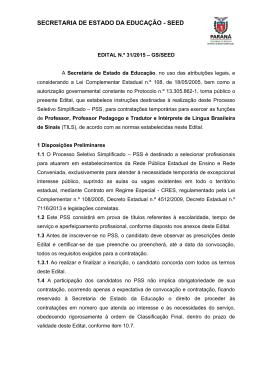 Edital nº 31/2015 - GS/Seed - Secretaria de Estado da Educação do