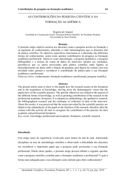 as contribuições da pesquisa científica na formação acadêmica