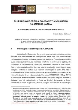 pluralismo e crítica do constitucionalismo na américa