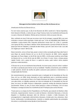 Mensagem de Dom Antônio Carlos Félix aos fiéis da