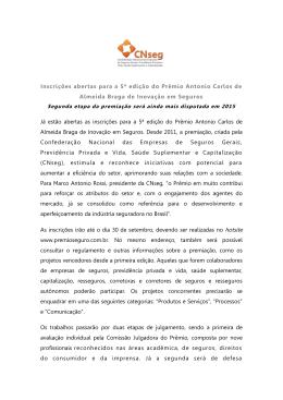 Inscrições abertas para a 5ª edição do Prêmio Antonio Carlos de