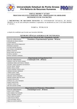Edital PRORH nº 167/2015 - Universidade Estadual de Ponta Grossa