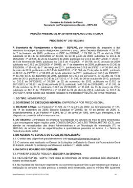 PREGÃO PRESENCIAL Nº 20140010 SEPLAG/COTEC e COAFI