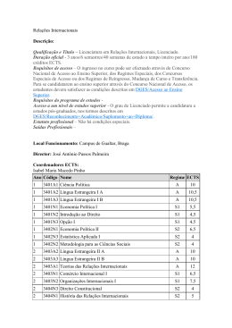 Qualificação e Título – Licenciatura em Relações Internacionais